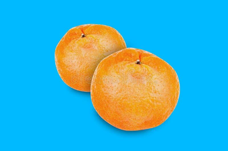 Par av nya hela läckra orange mandariner i mitt på blå bakgrund fotografering för bildbyråer