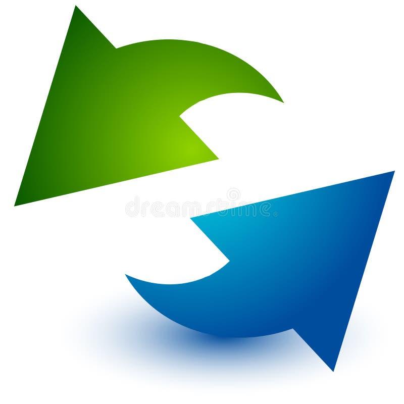 Par av pilar i cirkel Runda pilar Återanvändning, ögla eller cy stock illustrationer