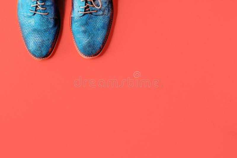 Par av skinande blåa skor på korallbakgrund royaltyfri fotografi