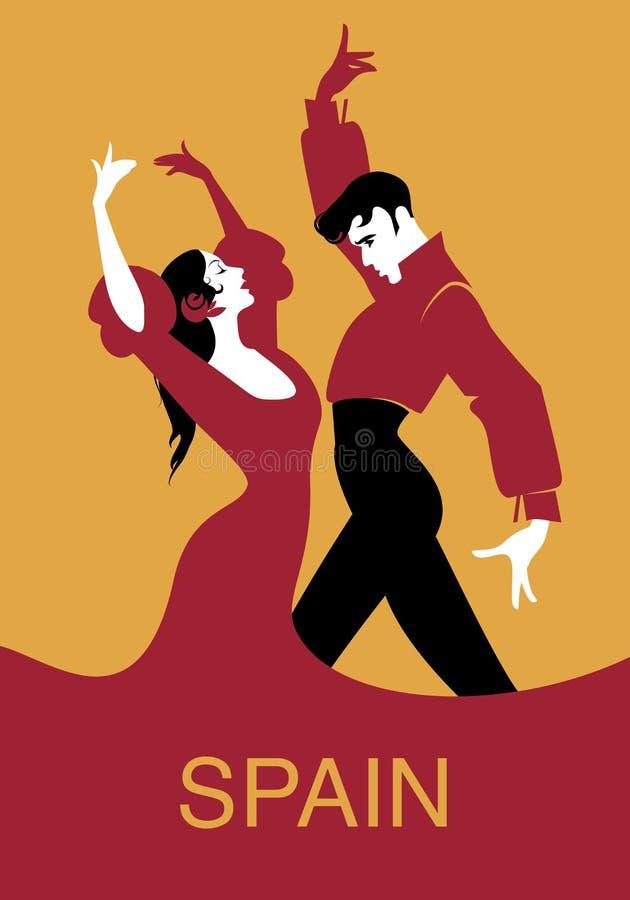 Par av spanska flamencodansare stock illustrationer