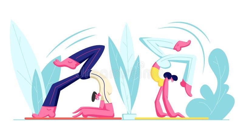 Par av tecken för ung man som och kvinnautarbetar yogaövningar som gör den avancerade inversions- och armjämviktsskorpionen royaltyfri illustrationer