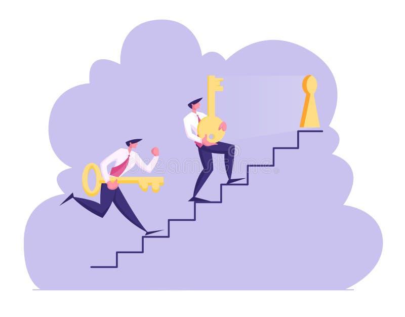 Par av teckenet Carry Heavy Huge Golden Keys för affärsmän uppför trappan försöker att låsa nyckelhålet upp Konkurrens utmaning vektor illustrationer