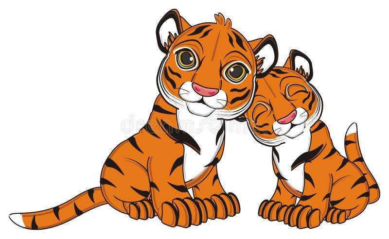 Par av tigrar royaltyfri illustrationer