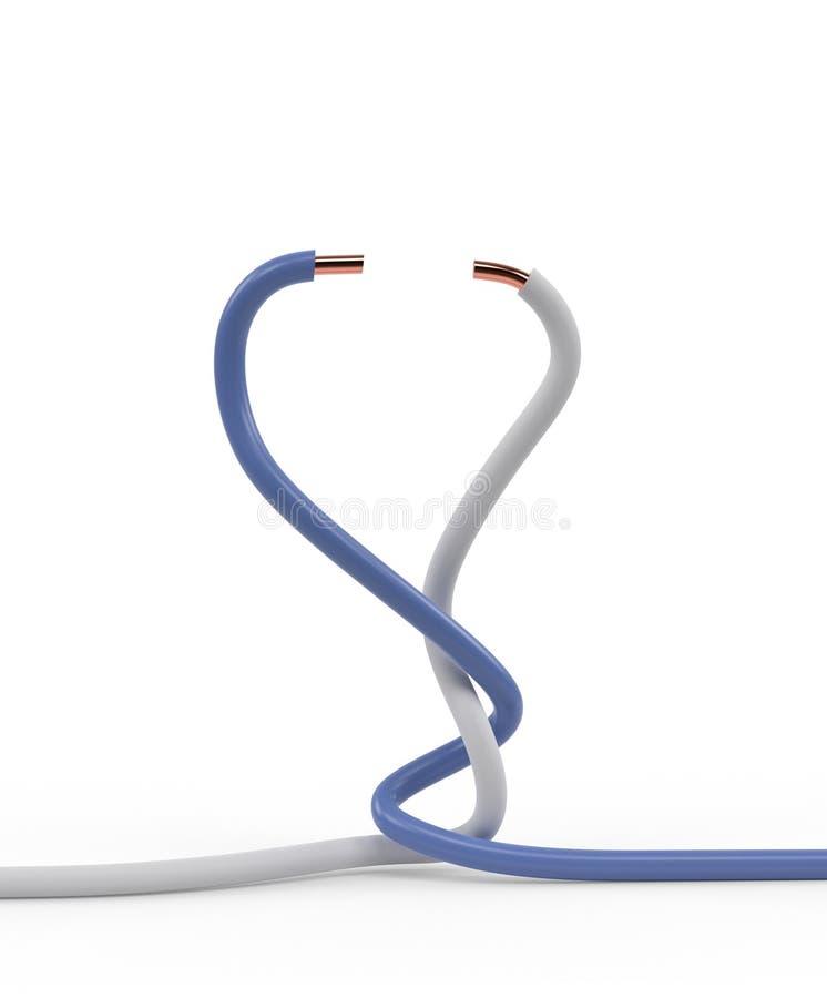 Par av trådar för elektrisk kabel som vreds samman med vit- och blåttisolering, isolerade illustrationen 3d royaltyfri illustrationer