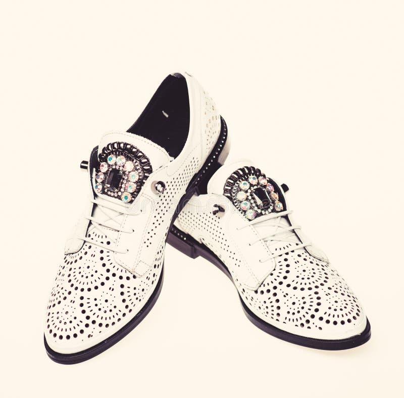 Par av trendiga bekväma oxfordsskor Kvinnligt skodonbegrepp Skodon för kvinnor på lägenheten som är endast med perforering royaltyfria bilder