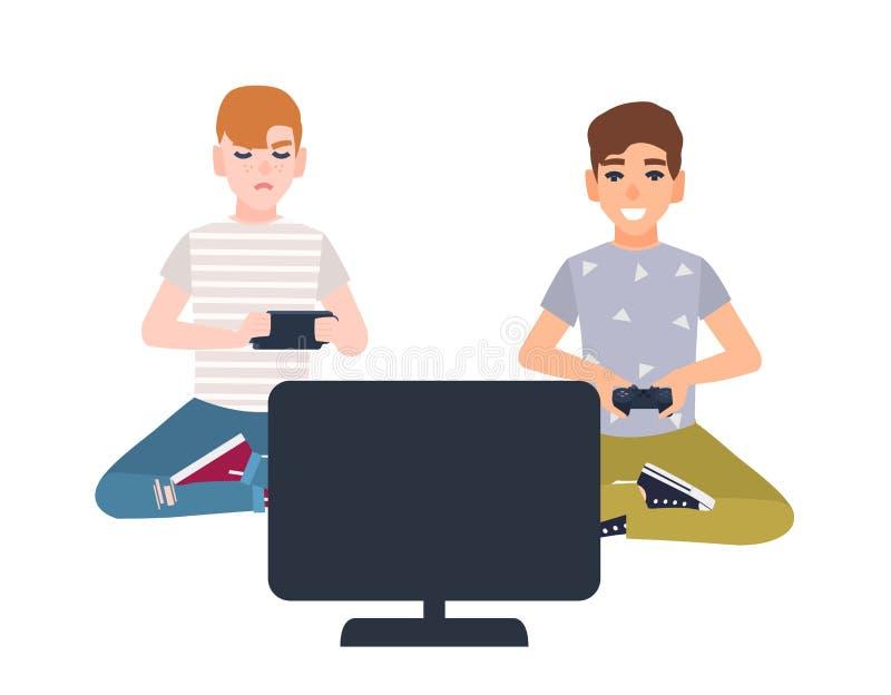 Par av unga pojkar som framme sitter av skärm och hållande gamepads Barn som spelar videospel som isoleras på vit stock illustrationer