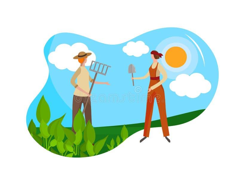 Par av unga trädgårdsmästare för vuxna kvinnor i overaller stock illustrationer