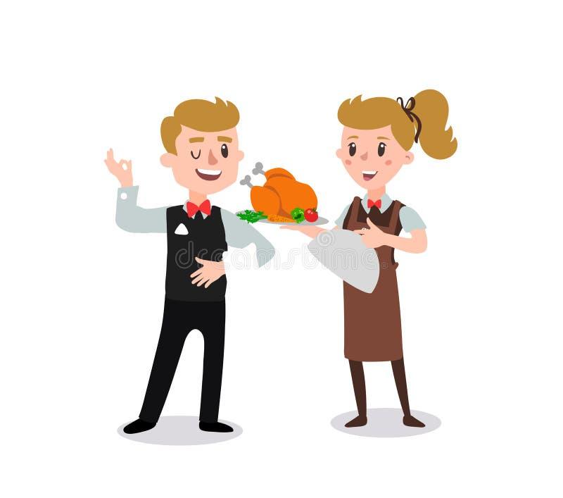 Par av uppassare som bär det enhetliga innehavet en maträtt av det fega tecknad filmteckenet Uppsättning av personen för gyckellä stock illustrationer