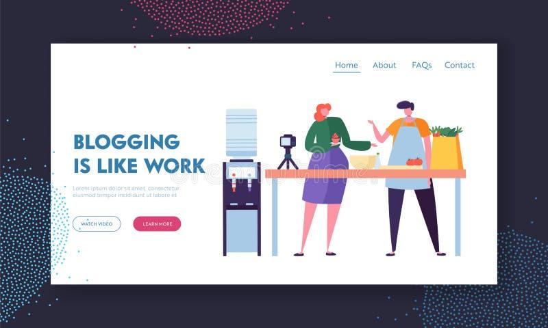 Par av videopp Bloggers för man- och kvinnamat som antecknar stolpen för anhängare Blogging som yrkebegrepp Male och kvinnligt royaltyfri illustrationer