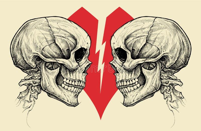 Par czaszki i złamane serce symbolu wektor royalty ilustracja