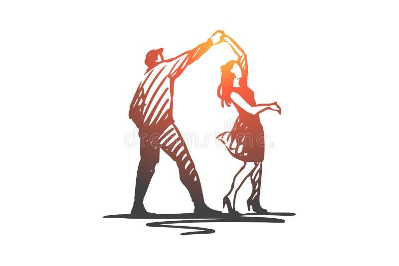 Par dans, partner, musik, partibegrepp Hand dragen isolerad vektor stock illustrationer