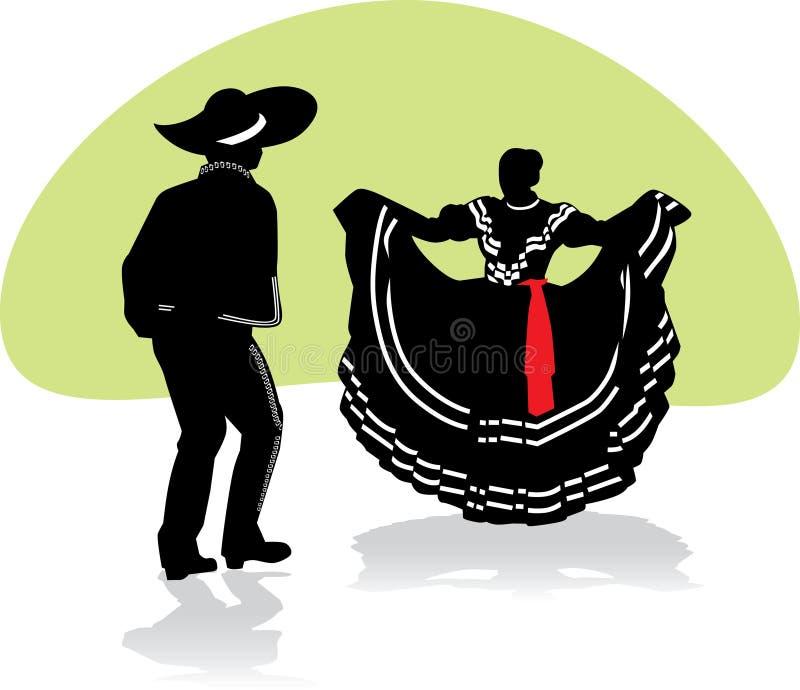 par dansar folkloric mexikan royaltyfri illustrationer