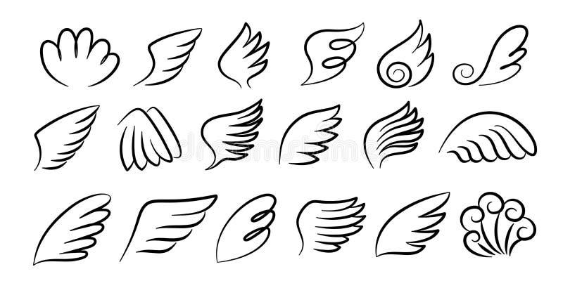 Par de asas de esboço Asas de anjo desenhadas à mão, esboço de tinta, asas de pássaros de desenho animado, silhuetas Conjunto de  ilustração royalty free