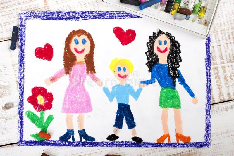 Par de lesbianas y del niño adoptado stock de ilustración