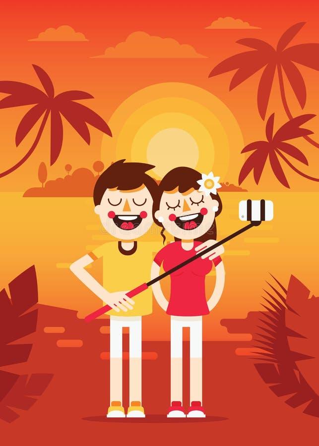 Par-férias-selfie ilustração stock
