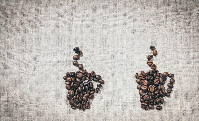 par för kaffekoppar Garneringmenyn i kafét royaltyfri bild