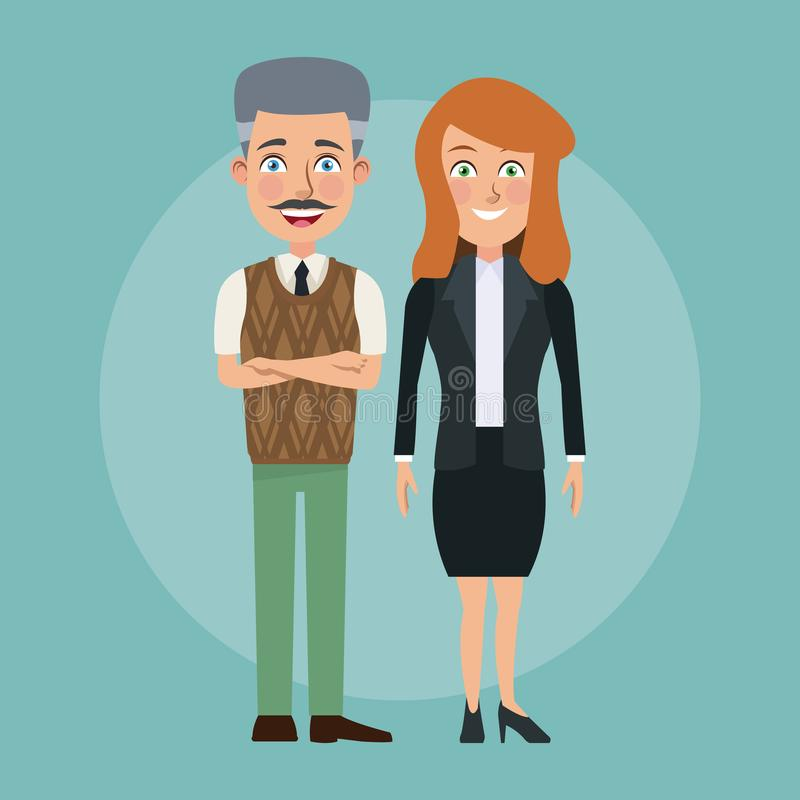 Par för kropp för färgbakgrund blir skallig fulla av den unga kvinnan och åldring mannen med formella dräkttecken för affär stock illustrationer