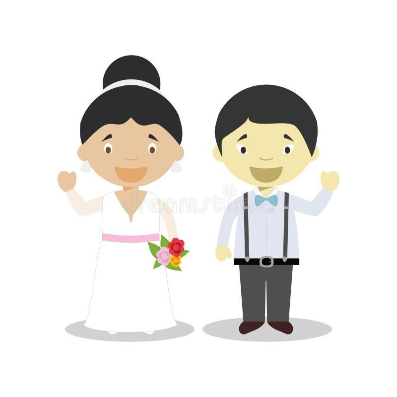 Par för nygift person för mestisbrud och för orientalisk brudgum mellan skilda raser i illustration för tecknad filmstilvektor vektor illustrationer