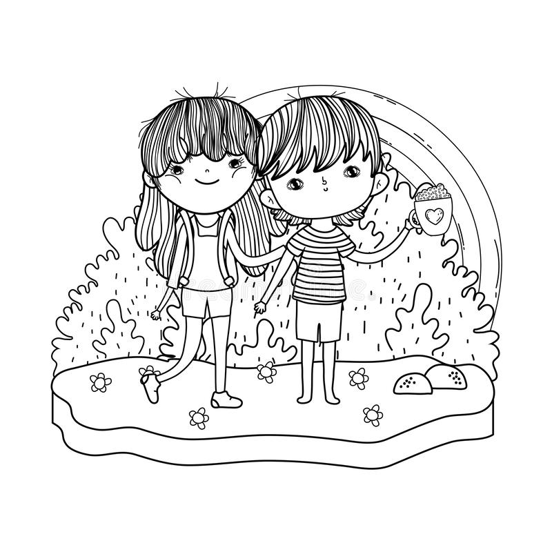 Par för små ungar i landskapet vektor illustrationer