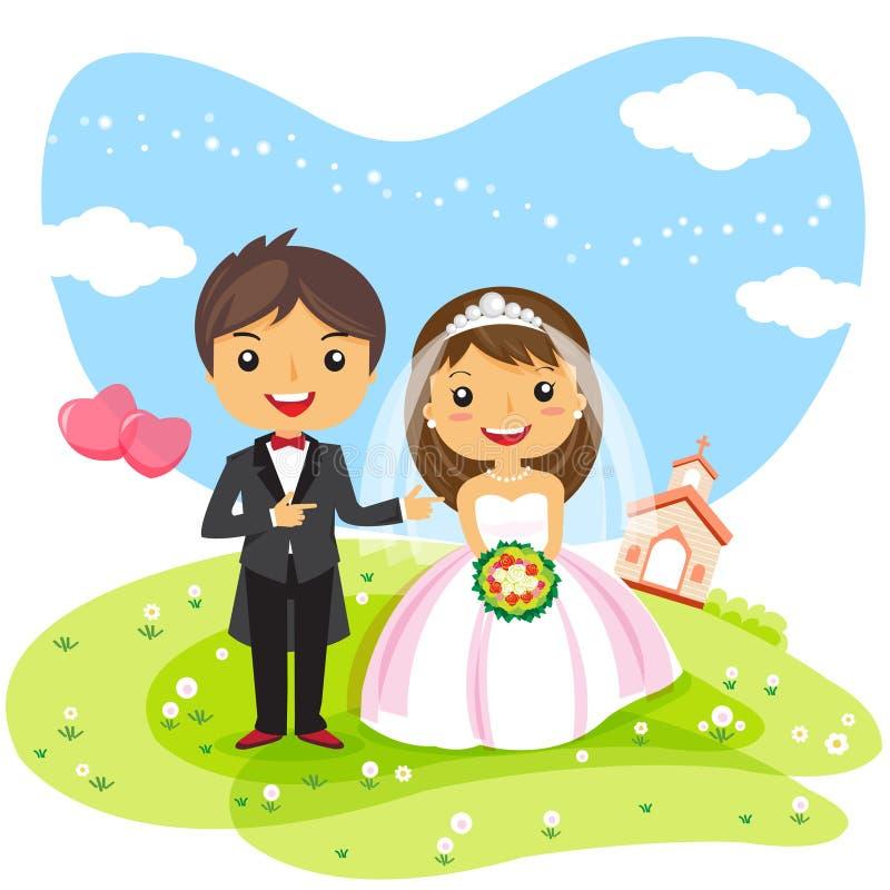 Par för tecknad filmbröllopinbjudan vektor illustrationer