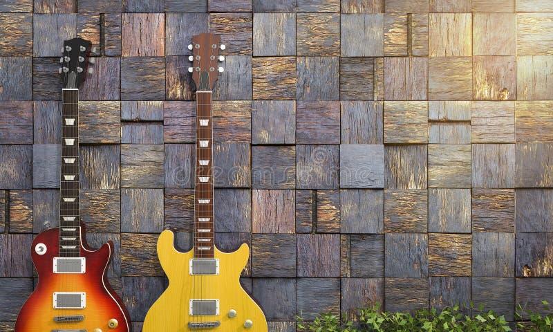 par för tolkning 3d av den elektriska gitarren nära den romantiska väggen royaltyfri illustrationer