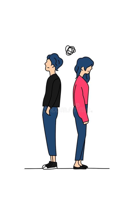 Par förväxlade att tänka om deras illustration för vektorn för teckningen för färg för förhållandeproblemklottret pojken och flic vektor illustrationer