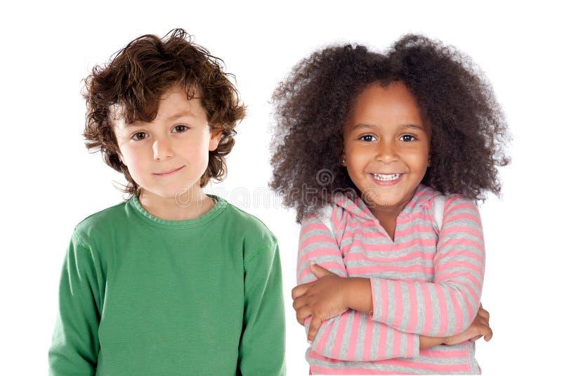 Par feliz de niños fotos de archivo