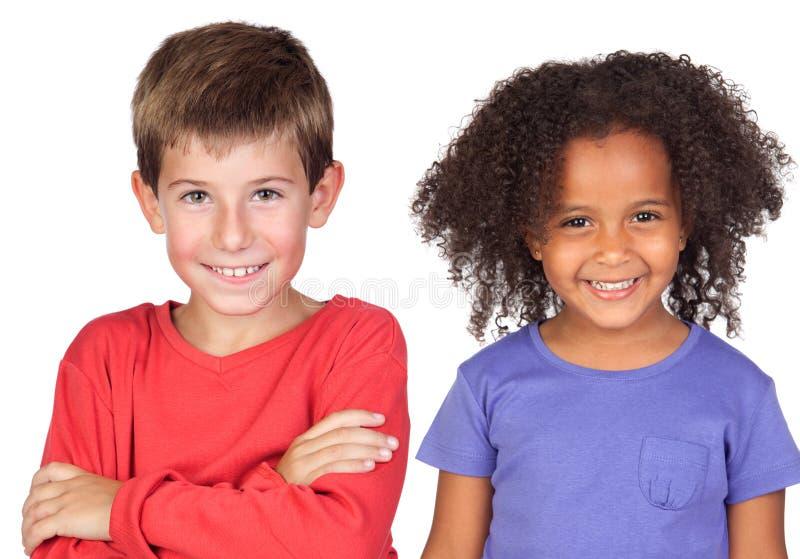 Par feliz de niños imagenes de archivo