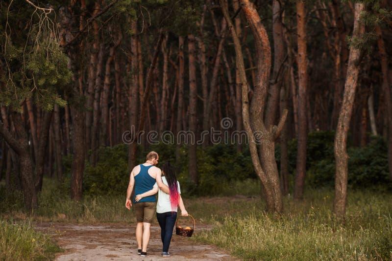 Par går begrepp för skogpicknickförälskelse royaltyfria foton