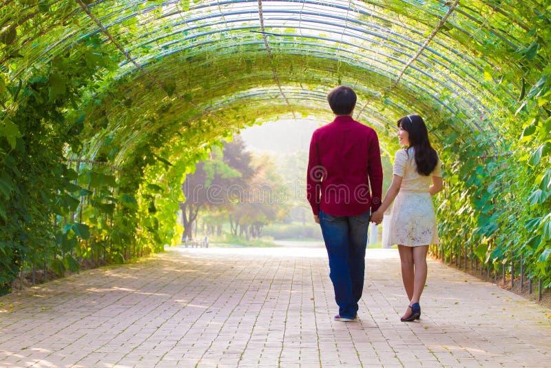 Par går i den gröna tunnelen arkivbilder