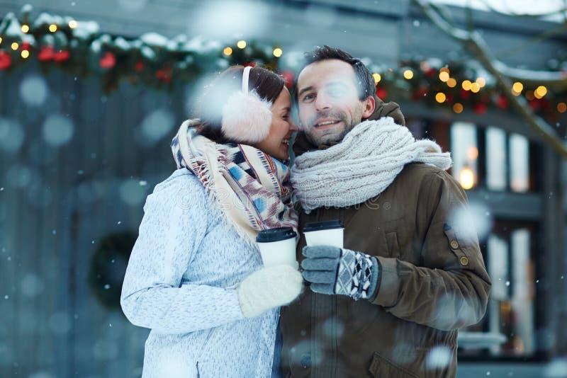 Par i snöfall arkivfoton