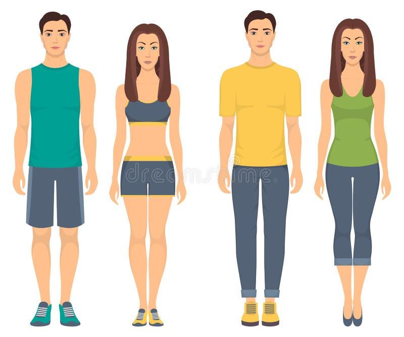 Par i sportswear Unga män och kvinnor som står oavkortad tillväxt i olik sportkläder för övningar i idrottshallen, spring, fitn stock illustrationer