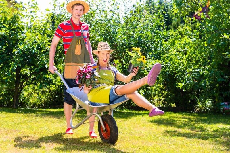 Par i trädgård med att bevattna kan fotografering för bildbyråer