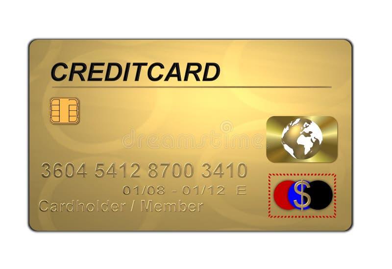 Par la carte de crédit d'or illustration de vecteur