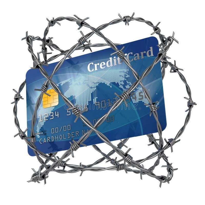 Par la carte de crédit enveloppé en barbelé illustration de vecteur