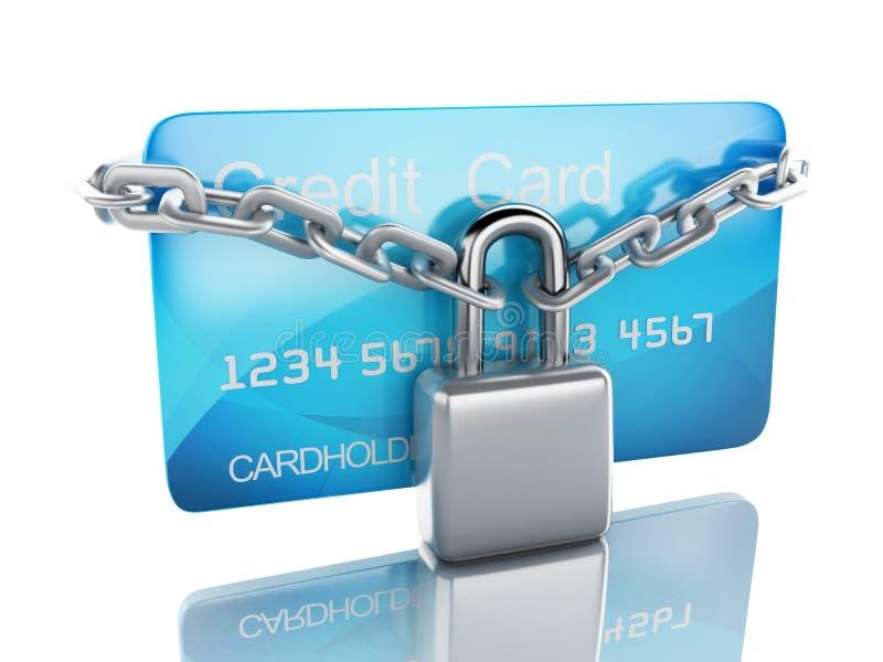 Par la carte de crédit et blocage concept sûr d'opérations bancaires sur le fond blanc illustration libre de droits