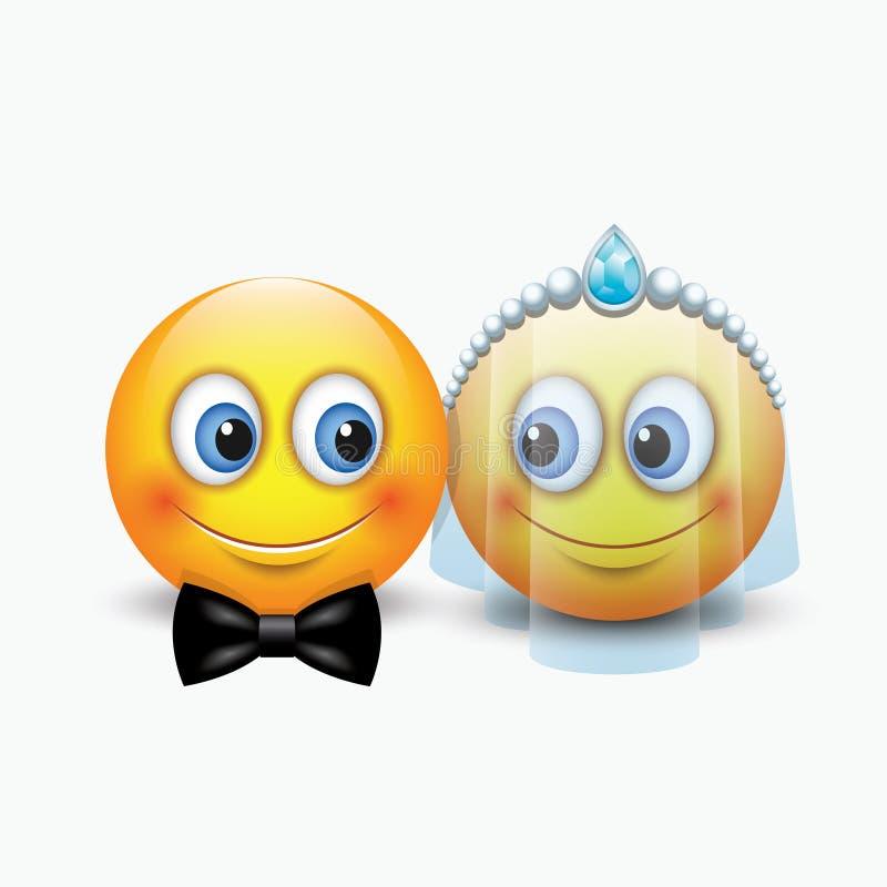 Par lindo de los emoticons que consiguen casado - emoji - vector el ejemplo ilustración del vector