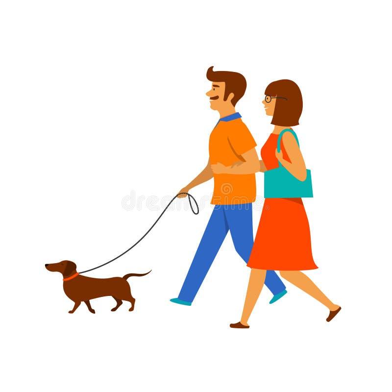 Par, man och kvinna som går med deras husdjur, taxhund royaltyfri illustrationer