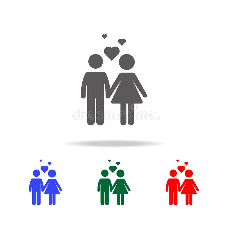 Par med förälskelsesymbolen också vektor för coreldrawillustration Beståndsdelar av mång- kulöra symboler för familj Högvärdig kv vektor illustrationer