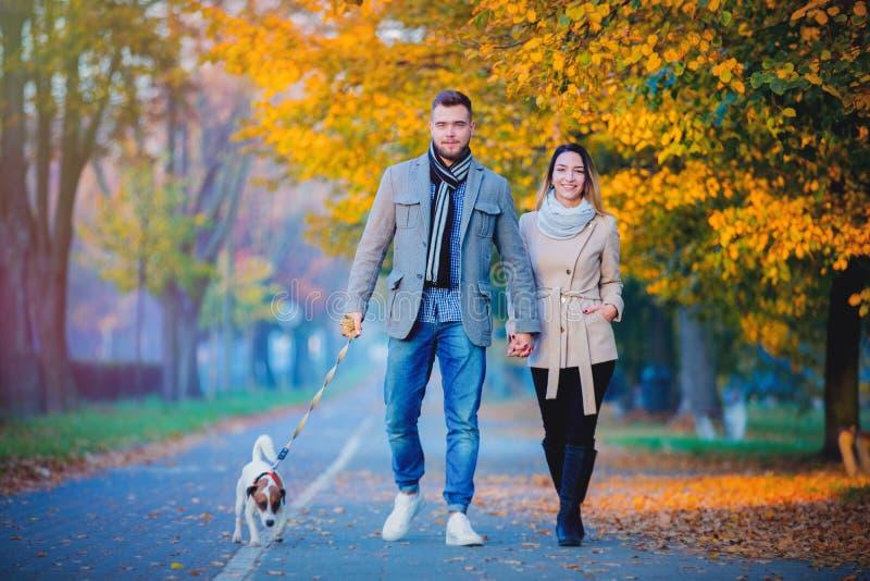 Par med hunden på höstsäsonggränden arkivfoto