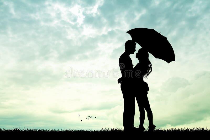 Par med paraplyet i regnet vektor illustrationer