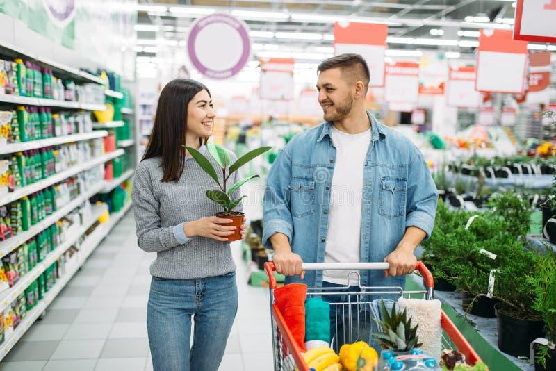 Par med vagnen som köper den hem- blomman i supermarket arkivfoto