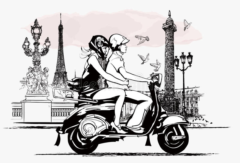 Par på en sparkcykel i Paris royaltyfri illustrationer