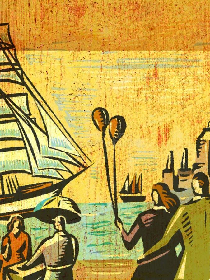 Par på hållande ögonen på seglingships för seashore vektor illustrationer
