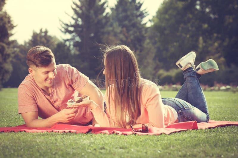 Par på picknick daterar utomhus- royaltyfri bild