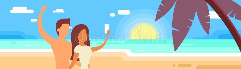 Par på sommarsemester gör ön för havet för Selfie fotoferie den tropiska stock illustrationer