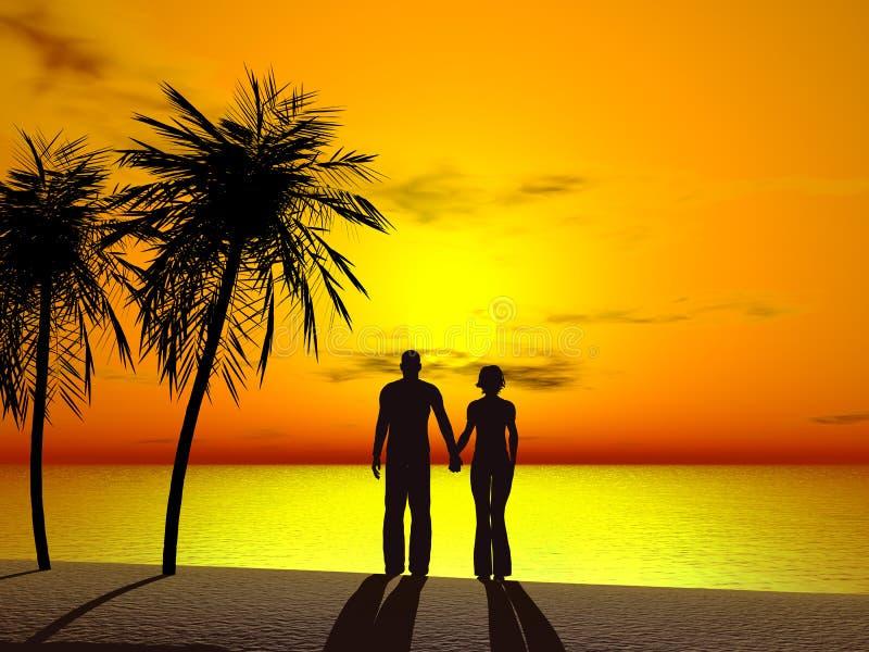 par rąk do wschodu słońca, ilustracji