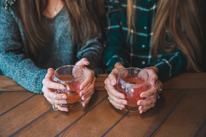 Par ręki dziewczyny zamknięte w górę Kobiety opowiada w kawiarni zdjęcia royalty free