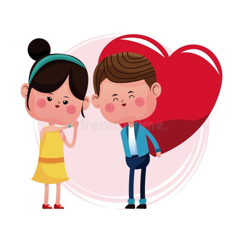 Par som älskar ge stor röd hjärta vektor illustrationer