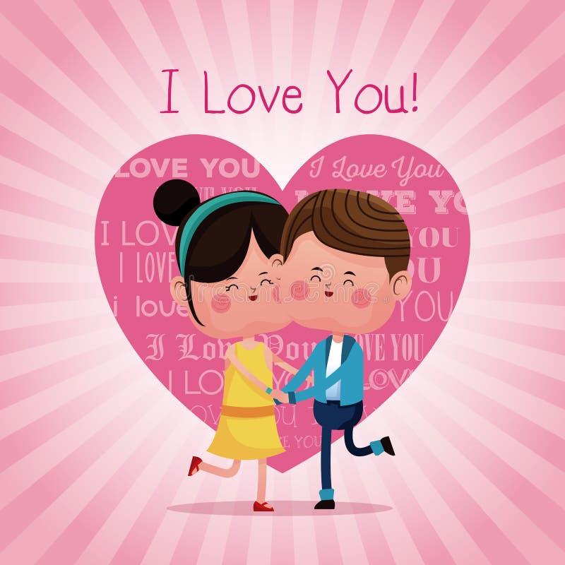 Par som älskar hoppa gladlynt rosa hjärtabakgrund stock illustrationer